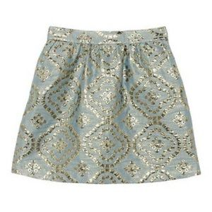 Red Valentino Gold Foil Brocade Skirt